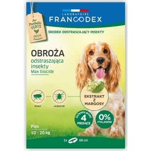 Francodex Repellent Colar - apykaklė nuo erkių ir blusų vidutiniams šunims, iki 20 kg.