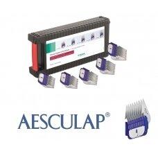 Aesculap Snap-On Combs Set - 5 vnt. profesionalių plieninių antgalių rinkinys su dėklu