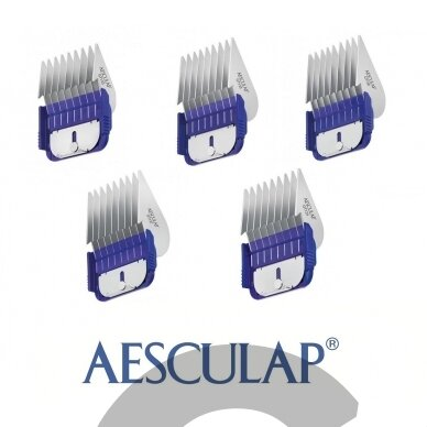 Aesculap Snap-On Combs Set - 5 vnt. profesionalių plieninių antgalių rinkinys su dėklu 2