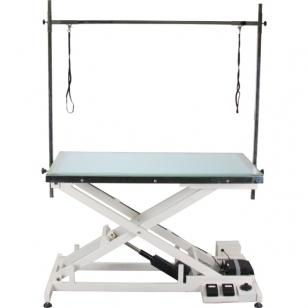 Blovi Luminous stalas su elektriniu pakėlimu ir LED apšviestimu stiklo viršuje, 120cm x 65cm