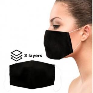 Daugkartinė apsauginė 3 sluoksnių veido kaukė juoda XL