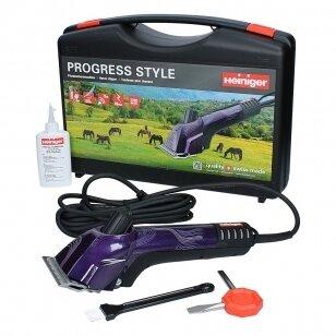 Heiniger Progress Style 80W Tvirta, profesionali  žirgų ir galvijų kirpimo mašinėlė, naujos konstrukcijos ir su 31/15  kirpim galvute rinkiniu, violetinė