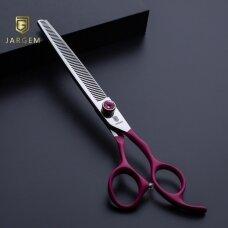 """Jargem Fuchsia Thinning - vienpusės filiravimo žirklės su minkšta ir ergonomiška rankena bei dekoratyviniu varžtu- Dydis: 7,5 """"- 56 dantys"""