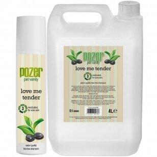 Pozer Love Me Tender Shampoo 4L - arbatmedžio aliejaus šampūnas šunims, turintiems odos problemų, koncentratas 1:12